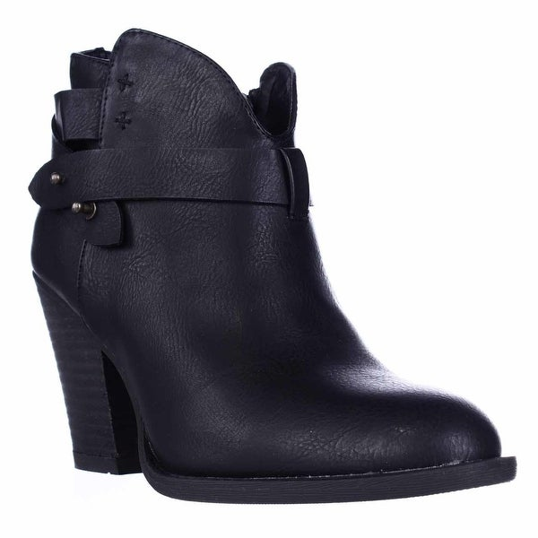 XOXO Karol Short Western Heeled Ankle Boots, Black - 8 us