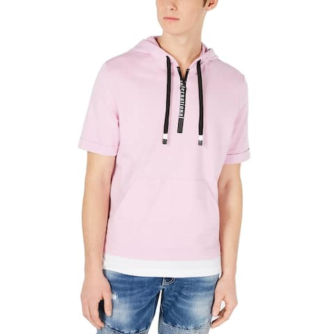 INC Mens Sweater Pink Size 3XL Regular-Fit Layered-Look Hem Hoodie