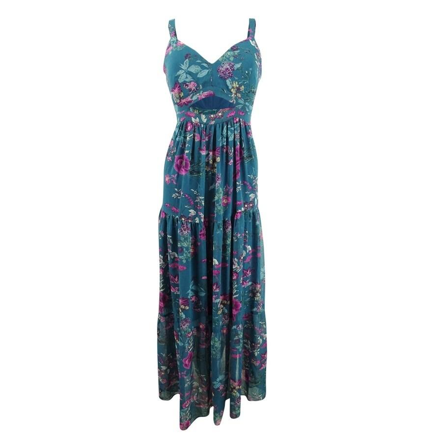 Rachel Roy Womens Jersey Lace Trim Maxi Dress Green S
