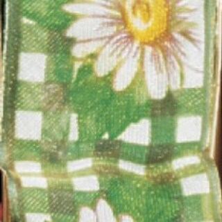 "Emerald Green Daisy Plaid Sheer Wired Edge Craft Ribbon 1"" x 22 Yards"