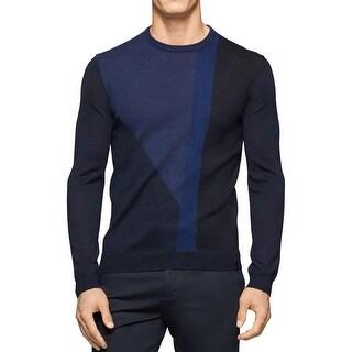 Calvin Klein Mens Crewneck Sweater Merino Wool Blend Colorblock