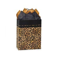 """Pack Of 25, Cub 8.25 x 4.75 x 10.5"""" Leopard Safari Recycled Kraft Paper Shopping Bag Made In Usa"""