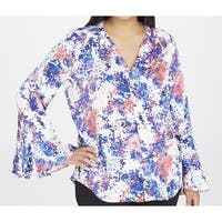 Tahari By ASL Blue Womens Size 2X Plus Bell-Sleeve Printed Blouse