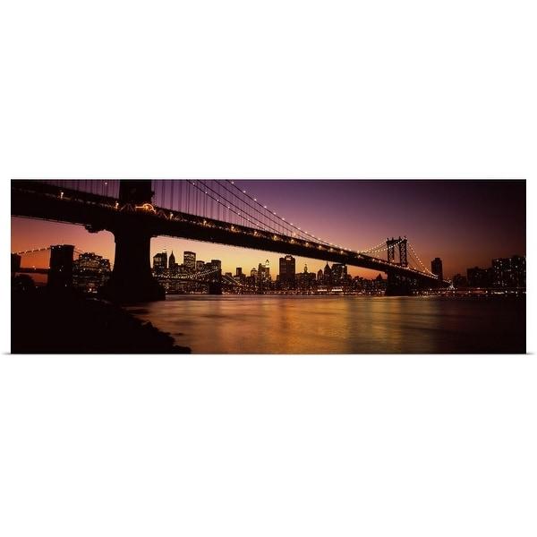 """Bridge across the river, Manhattan Bridge, Lower Manhattan, New York City, New York State"" Poster Print"