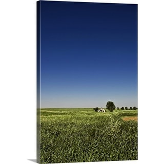 """Abandoned house sits in a field in the desolate grassy plains of southwest Oklahoma."" Canvas Wall Art"