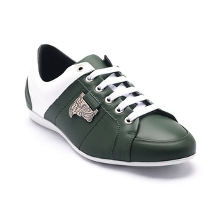 Versace Collections Men's Medusa Logo Low Top Sneakers Shoes White Green