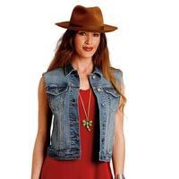 Stetson Western Vest Womens Denim Welt Pockets