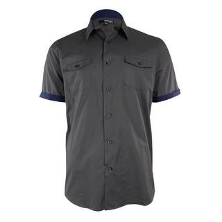 Murano Men's Slim Fit Contrast Trim Woven Shirt