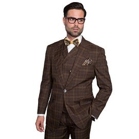 SORENTO BROWN Men's 3pc, Regular Fit, 1 Button, 2 Side Vent, Wide Leg Pants
