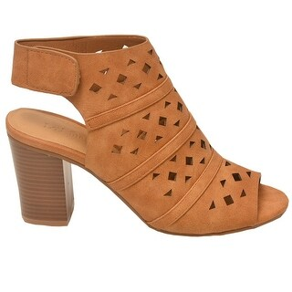 Love Mark Adult Tan Cut-Out Heeled Trendy Peep Toe Boot Sandals