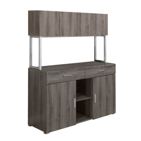"""Offex 48""""L Reclaimed Wood Office Storage Credenza Cabinet, Dark Taupe"""