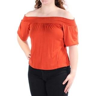 ULTRA FLIRT $20 Womens New 1128 Orange Cowl Neck Short Sleeve Top Juniors L B+B