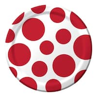 """Club Pack of 192 Chevron Dots Classic Red Round Lunch Disposable Party Plates 7"""""""