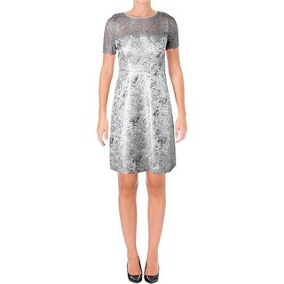T Tahari Womens Serina Cocktail Dress Metallic Fringe