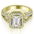 1.35 cttw. 14K Yellow Gold Milgrain Halo Emerald Cut Diamond Engagement Ring - Thumbnail 0