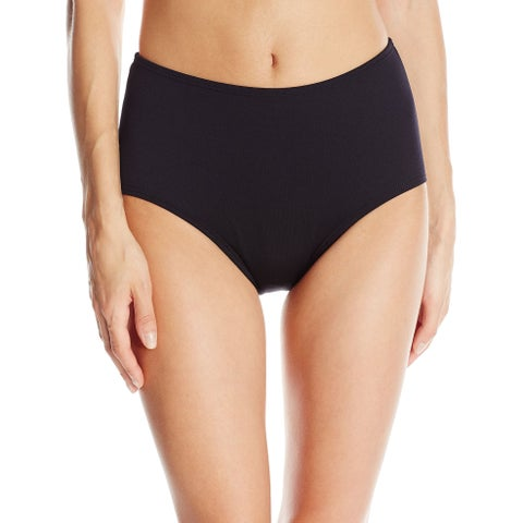 TYR Deep Black Womens Size 6 High-Waist Swimwear Bikini Bottom