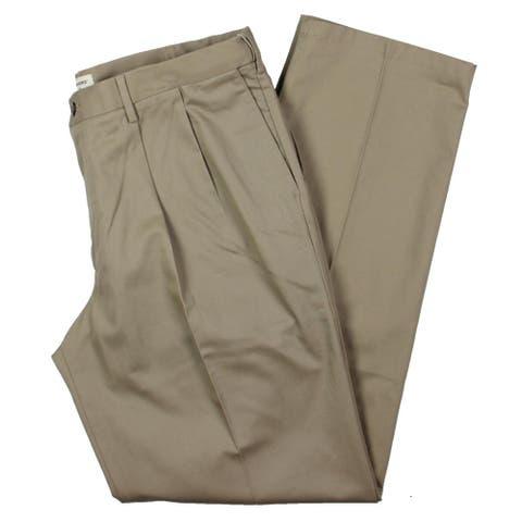 Dockers Mens Big & Tall Signature Khaki Pants Pleated Classic Fit - Timber Beige - 38/36