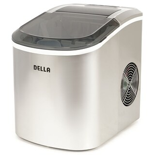 Della Portable Ice Maker w/Easy-Touch, 2-Selectable Cube Sizes, Yield Up To 26 Pounds of Ice Daily, Silver