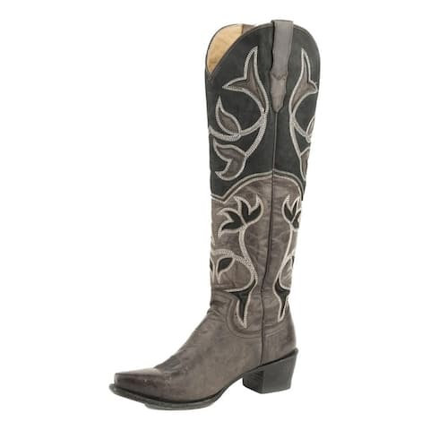 "Stetson Western Boots Womens Catherine 18"" Black"
