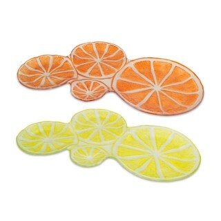 """Set of 4 Yellow Lemon and Orange Plates with Slices all Pieced together Glass 16"""""""