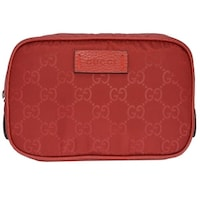 8cd845a84ccce6 ... competitive price c3856 fb3ef Gucci 510341 Red Nylon GG Guccissima  Small Toiletry Cosmetic Dopp Bag ...