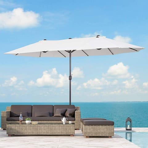 Outsunny 15' Steel Rectangular Outdoor Double Sided Market Umbrella