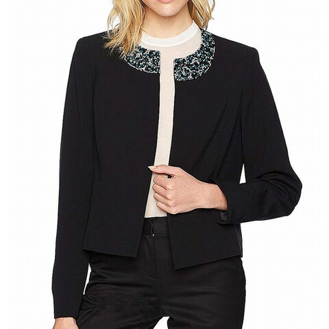 Nine West Navy Blue Women's Size 14 Crepe Embellished Jacket