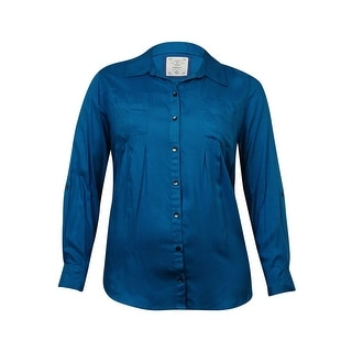 Style & Co Women's Pleated Button Down Pocket Blouse