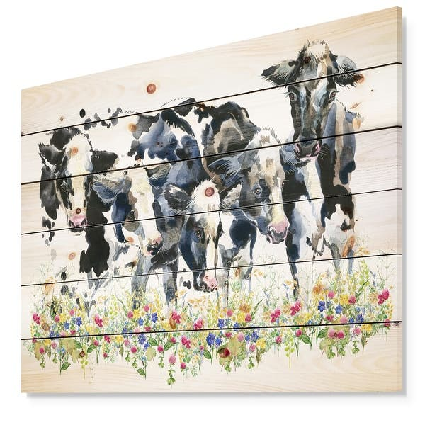 Designart Dairy Cow On The Field Watercolor Illustration Farmhouse Animal Print On Natural Pine Wood White Overstock 23550432