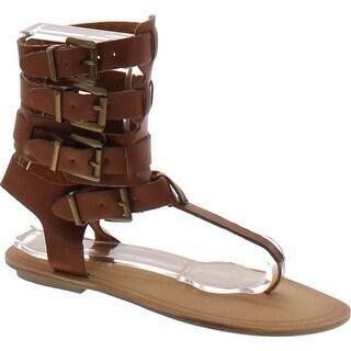 Liliana Avis-3 Women Leatherette Strappy T-Strap Gladiator Thong Sandal - Cognac