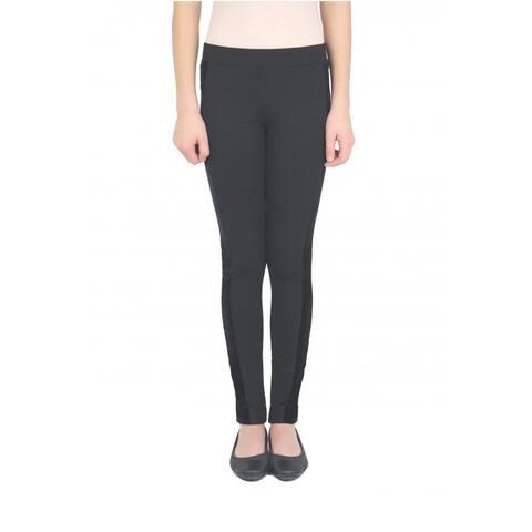 Tractr Girl's Black Size 7 Velvet-Stripe Ponte Pull-On Skinny Pants