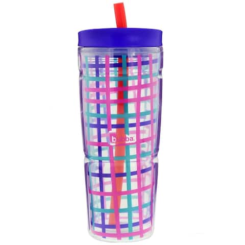 Bubba 1987154 Envy 24oz Insulated Tumbler with Straw, Check Pattern