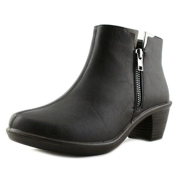 Easy Street Clear Women W Round Toe Leather Black Bootie