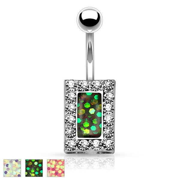 Imitation Opal Glitter Centered Crystal Paved Square 316L Surgical Steel Belly Button Rings