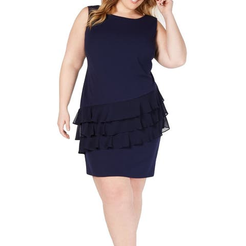 Connected Apparel Women's Dress Blue Size 18W Plus Sheath Ruffle