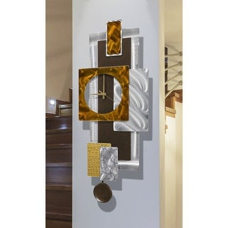 "Statements2000 Bronze & Silver Metal Wall Clock Art Geometric Decor by Jon Allen - Tectonic Clock - 32"" x 13"""