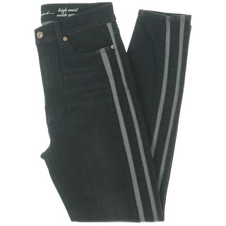 Link to 7 For All Mankind Womens Gwenevere High-Waist Jeans Denim Side Stripe - Black Similar Items in Athletic Clothing