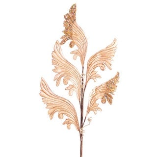"""Pack of 12 Artificial Champagne Gold Velvet Leaf Sprays with Glittered Edges 32"""""""