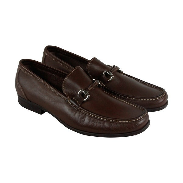 Florsheim Felix Bit Mens Brown Leather Casual Dress Slip On Loafers Shoes