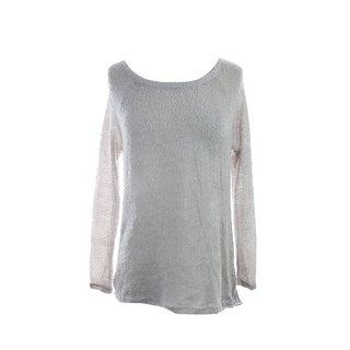 Bar Iii Grey Long-Sleeve Semi-Sheer Back Pleated Sweater M