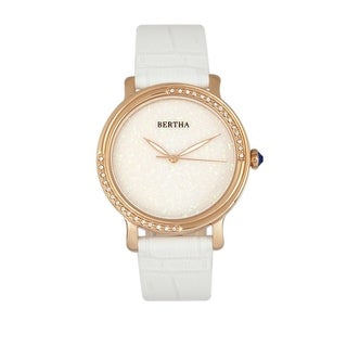 Bertha Courtney Women's Quartz Watch, Genuine Leather Band, Luminous Hands