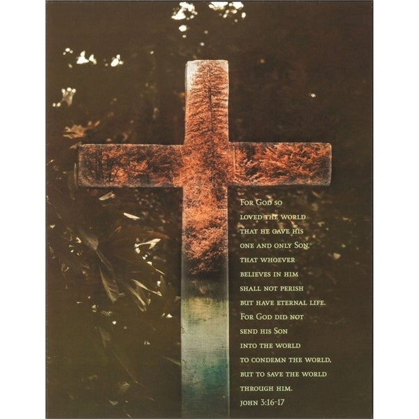 """13.5"""" Orange and Green Cross Bible Verse Wall Plaque - N/A"""
