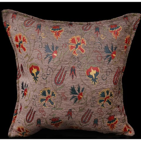 Carnation Fern Chenille Turkish Decorative Pillow