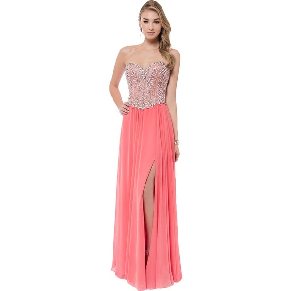 Terani Couture Chiffon Strapless Formal Dress