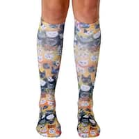 Living Royal Photo Print Knee High Socks: Galaxy Kitty - Multi