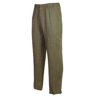 Caribbean Men's 100% Linen Elastic & Drawstring Waist Pants