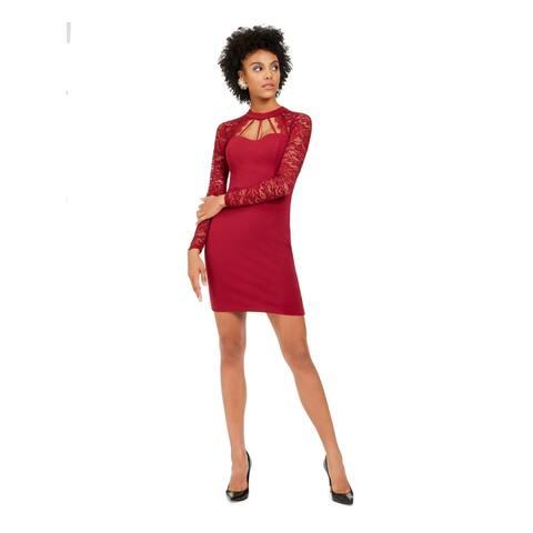 GUESS Womens Burgundy Long Sleeve Short Sheath Cocktail Dress Size 2