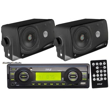 """Pyle In-Dash Marine AM/FM USB/SD Stereo Player Receiver Aux-In for iPod/MP3 + 2 x 3.5"""" 200W Speakers & Remote"""
