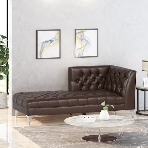 """Tignall Contemporary Tufted One Armed Chaise Lounge by Christopher Knight Home - 31.00"""" W x 70.00"""" D x 30.00"""" H"""
