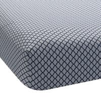 Lambs & Ivy Blue Jensen Collection Navy Lattice Fitted Crib Sheet